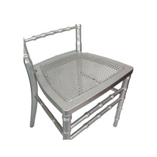 aluguer cadeira prateada assento palhinha