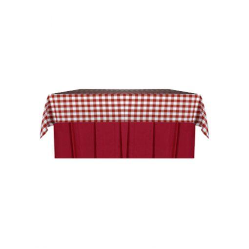 aluguer de toalha ao xadrez vermelho com saiote vermelho