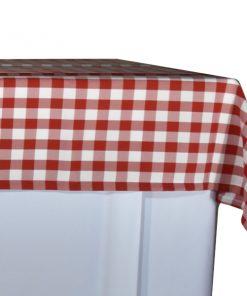 aluguer de toalha de buffet xadrez vermelho