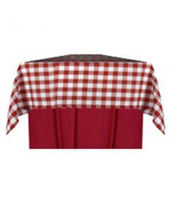 aluguer de toalha quadrada xadrez vermelho e branco